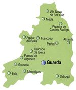 Guarda District Map, Portugal
