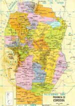Mapa de la Provincia de Córdoba, Argentina