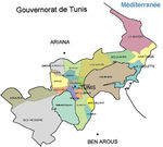 Tunis Governorate Map, Tunisia
