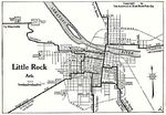 Little Rock City Map, Arkansas, United States 1920