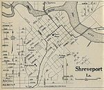 Shreveport City Map, Louisiana, United States 1920