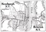 Newburgh and Beacon City Map, New York, United States 1920