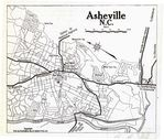 Asheville City Map, North Carolina, United States 1919
