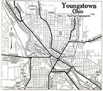 Youngstown City Map, Ohio, United States 1920