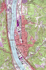 Ambridge Topographic City Map, Pennsylvania, United States