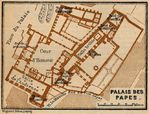 Avignon (Palace of the Popes) Map, France 1914