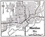 Meridian City Map, Mississippi, United States 1920
