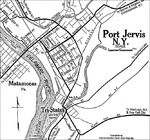 Port Jervis Map, New York, United States 1920