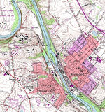 Spring City and Royersford Topographic City Map, Pennsylvania, United States