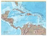 Central America and the Caribbean physical map 2002