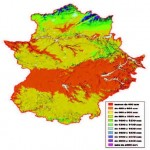 Average annual rainfall in Extremadura