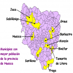 Most populous municipalities in the province of Huesca