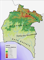 Physical map of the Province of Huelva 2008
