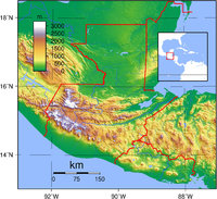 Physical map of Guatemala 2007