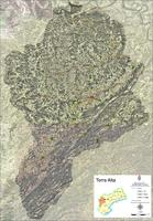 Satellite and road map of the comarca of Terra Alta