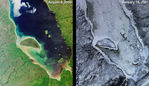 Satellite Image, Photo of Green Summer and Icy Winter in James Bay, Quebec