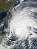 Hurricane Michelle reaching the south coast of Cuba