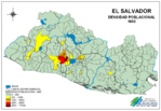 Mapa Densidad Poblacional de El Salvador