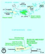 Buck Island Reef National Monument Area Map, Virgin Islands, United States