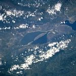 Satellite Image, Photo of Lake Enriquillo, Dominican Republic