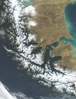 Satellite Image, Photo of Strait of Magellan, Chile and Argentina, South America