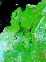 Floods in Northern Colombia (false color)