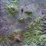 Satellite Image, Photo of Mojanda, Imabura and Cusin Volcanoes, Ecuador