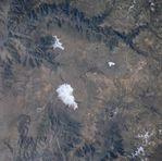 Satellite Image, Photo of Coropuna and Soliman Volcanoes, Peru