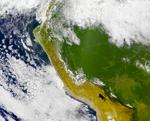 Satellite Image, Photo of Popocatépetl and Iztaccíhuatl Volcanoes, Mexico