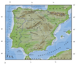 Topographical map of Spain