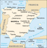 Map of Spain in Spanish