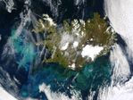 Proliferación de fitoplancton cerca de Islandia