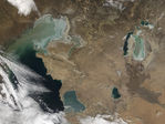 Ice in Caspian Sea and Aral Sea, Kazakhstan