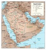 Saudi Arabia Shaded Relief Map