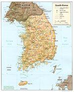 Mapa Físico de Corea del Sur