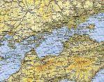 Mapa Topográfico de Okayama Hacia Hiroshima, Japón