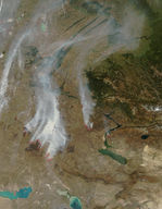 Fires and smoke in Kazakhstan
