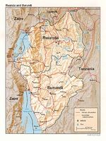Rwanda and Burundi Shaded Relief Map