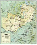 Mapa de Relieve Sombreado de Zambia