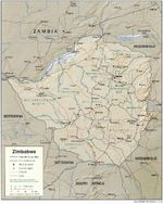 Zimbabwe Shaded Relief Map