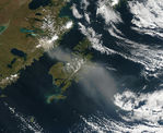 Resuspended volcanic ash over Kodiak Island, Alaska