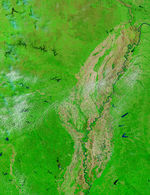 Satellite Image, Photo of Soybeans Fields East of Santa Cruz, Bolivia