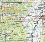 Arkansas Shaded Relief Map, United States