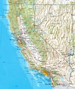 Mapa de Relieve Sombreado de California, Estados Unidos