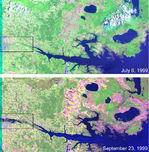 Satellite Image, Photo of James Bay in Spring, Canada