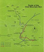 Route Map of the Over-Mountain Men, Battle of Kings Mountain 1780
