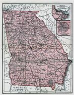 Georgia State Map, United States 1895