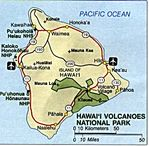 Area Map of Hawaii Volcanoes National Park, Hawaii, United States