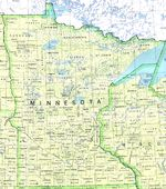 Minnesota State Map, United States