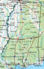 Mississippi Shaded Relief Map, United States